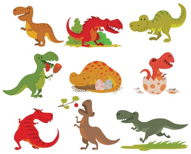 T-レックス恐竜セット。 Premiumベクター