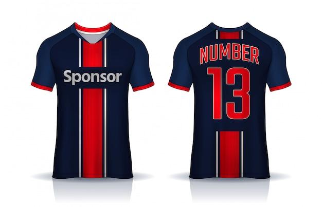 Tシャツスポーツデザインテンプレート、サッカークラブのサッカージャージ。前面と背面が均一です。 Premiumベクター