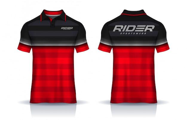 Tシャツポロテンプレートの前面と背面が均一に表示されます。 Premiumベクター