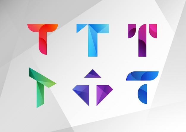 Коллекция логотипов абстрактный градиент t Premium векторы