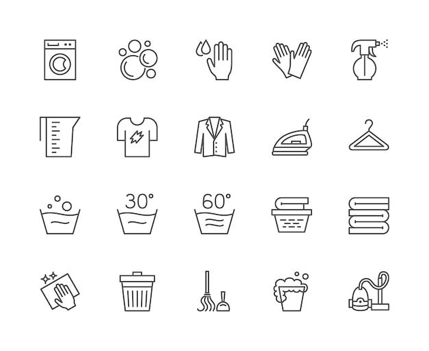 ランドリーラインアイコンのセット。洗濯機、手袋、tシャツ、ハンガーなど。 Premiumベクター