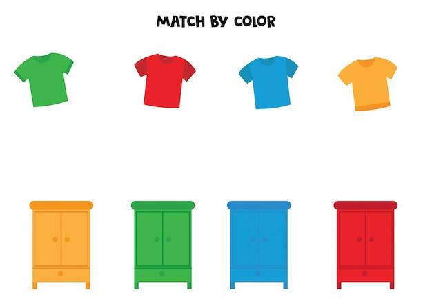 色でtシャツとワードローブを一致させます。 Premiumベクター