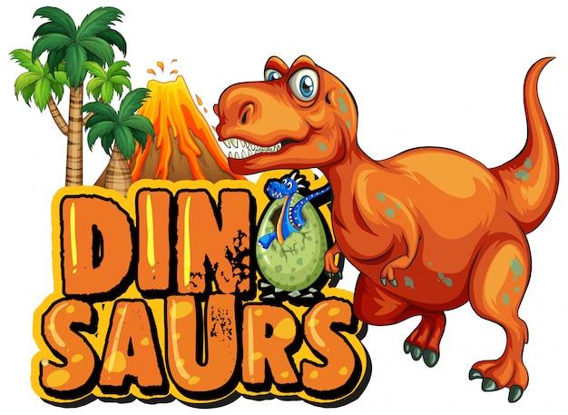 T-レックスと火山による単語恐竜のフォントデザイン 無料ベクター