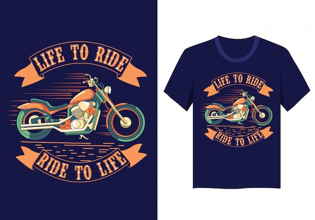 Tシャツデザインに乗るバイクライフ Premiumベクター