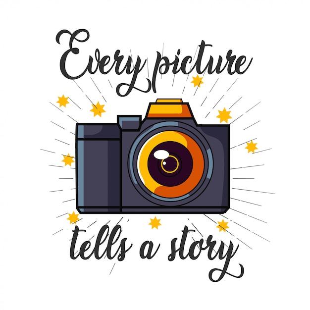 Tシャツデザインのデジタル一眼レフカメラのロゴ Premiumベクター