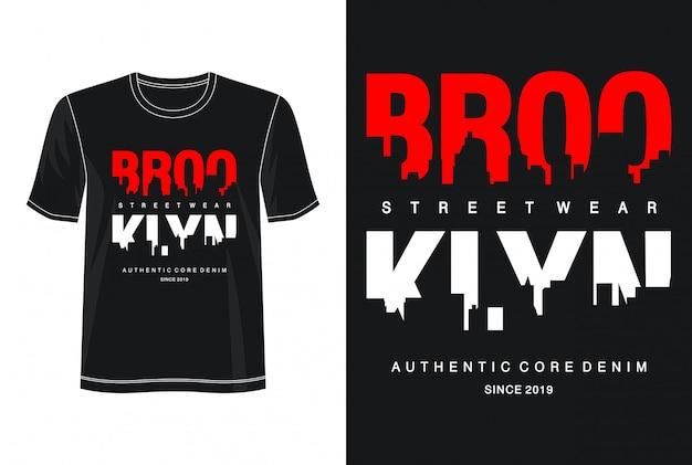 プリントtシャツのブルックリンタイポグラフィ Premiumベクター