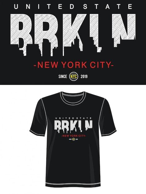 プリントtシャツのニューヨーク市タイポグラフィ Premiumベクター