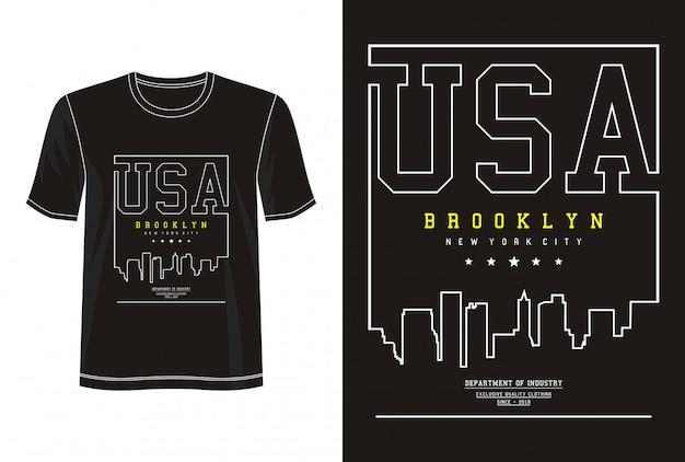プリントtシャツのアメリカタイポグラフィ Premiumベクター