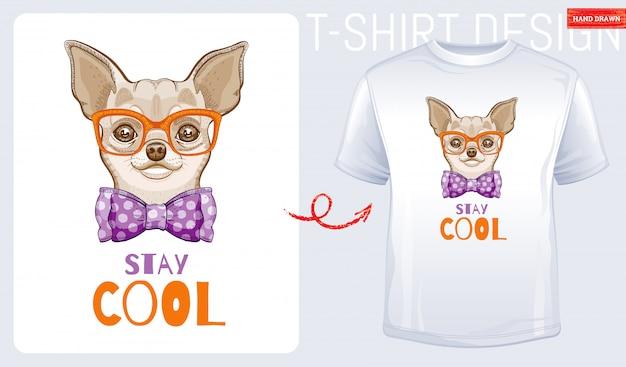 かわいいチワワ犬のtシャツ Premiumベクター