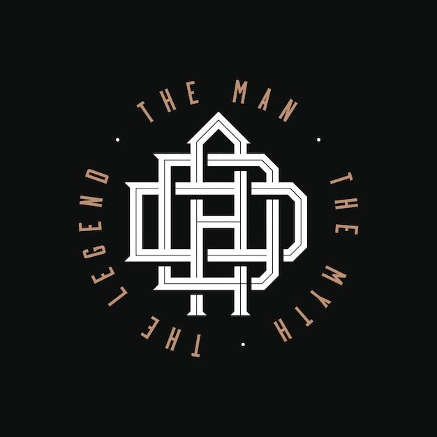 パパ。男、神話、伝説。 tシャツプリントの黒い背景に父親のモノグラムロゴエンブレムデザインまたは個人的なギフトや父の日や父の誕生日のお土産。図 Premiumベクター