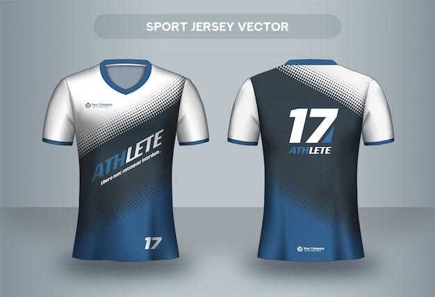 フットボールジャージーデザインテンプレート。サッカークラブのユニフォームtシャツの前面と背面。 Premiumベクター