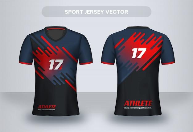 フットボールジャージーデザインテンプレート。コーポレートデザインシャツ。サッカークラブのユニフォームtシャツの前面と背面。 Premiumベクター