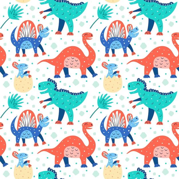 小さなかわいい恐竜のセットです。トリケラトプス、t-レックス、ディプロドクス、プテラノドン、ステゴサウルス。先史時代の動物パターン Premiumベクター