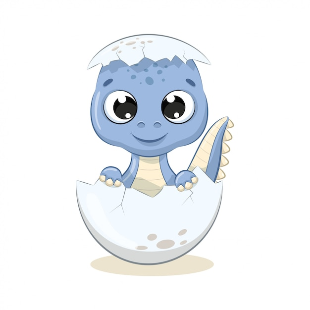 かわいい赤ちゃん恐竜のイラスト。ベビーシャワー、グリーティングカード、パーティーの招待状、ファッション服のtシャツプリントのイラスト。 Premiumベクター