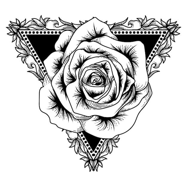 タトゥーとtシャツデザインアートワーク黒と白の三角形とローズプレミアム Premiumベクター