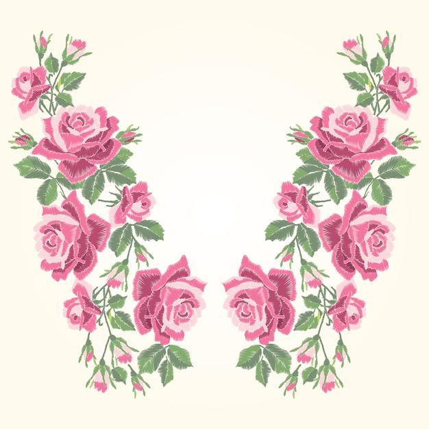葉とつぼみの赤いバラ刺繍。民族の花の首のライン、花のデザイン、グラフィックのファッションを着ています。 tシャツの刺繍。 Premiumベクター