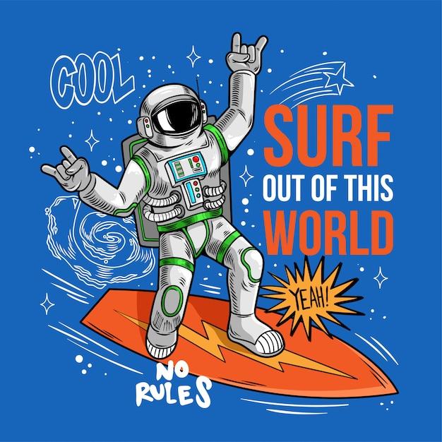 宇宙服サーファー宇宙飛行士宇宙飛行士のクールな男の彫刻は、サーフボードで宇宙波をキャッチし、星の惑星銀河の間をサーフィンします。印刷デザインのtシャツアパレルの漫画コミック宇宙ポップアート。 Premiumベクター