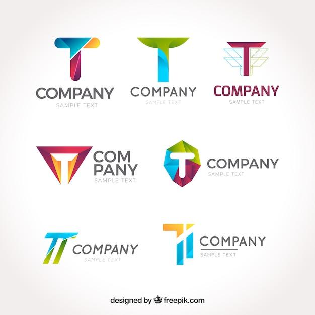 会社のロゴ「t」のコレクション 無料ベクター