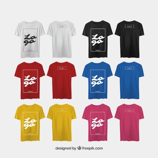 現実的なスタイルとは異なる視点のメンズtシャツ 無料ベクター