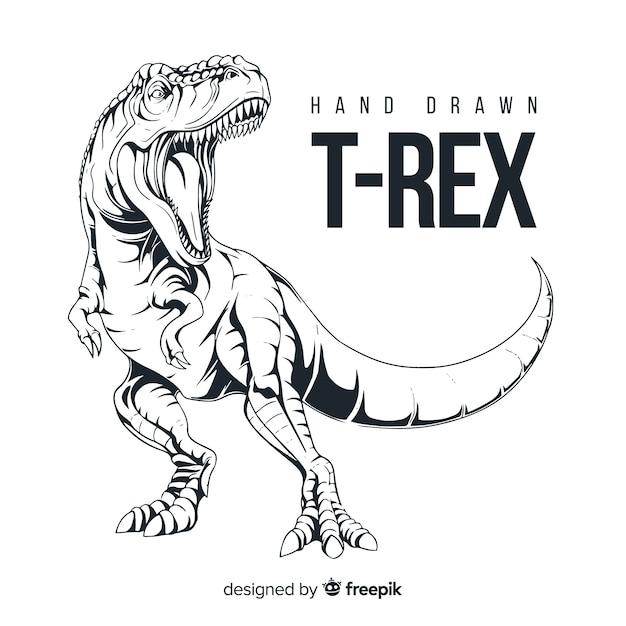 手描きのtレックスの背景 無料ベクター