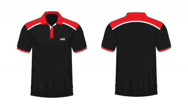 白い背景のデザインのtシャツポロ赤と黒のテンプレート。 Premiumベクター