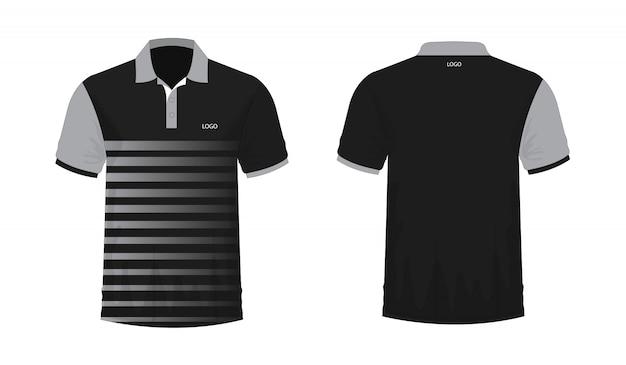 白い背景の上のデザインのtシャツポログレーと黒のテンプレート。 Premiumベクター
