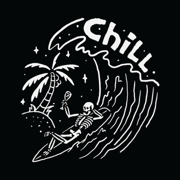 チルスカルサーフィンリラックス夏波ビーチ海イラストアートtシャツ Premiumベクター