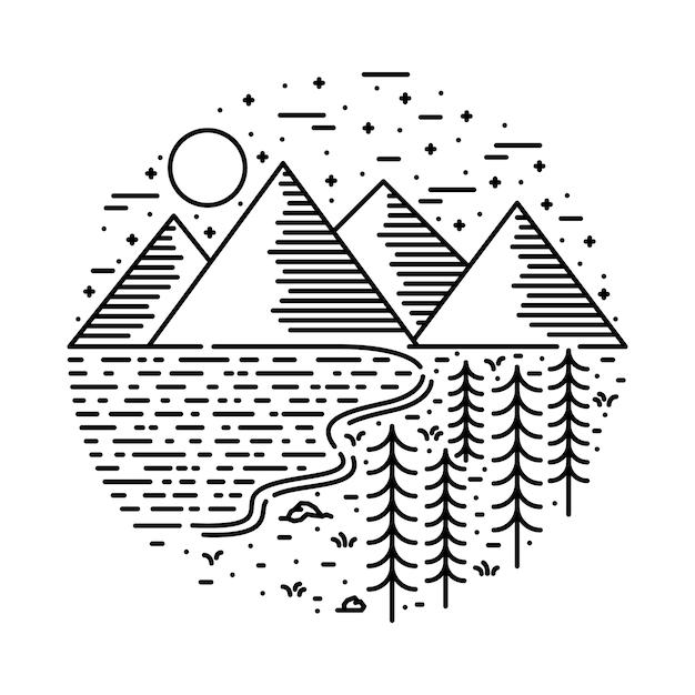 レイクキャンプハイキング自然ワイルドライングラフィックイラストアートtシャツデザイン Premiumベクター