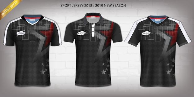 サッカージャージとtシャツスポーツモックアップテンプレート。 Premiumベクター