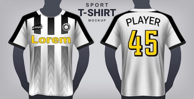サッカージャージとスポーツtシャツモックアップテンプレート。 Premiumベクター