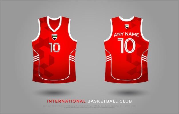 バスケットボールのtシャツのユニフォームセットのデザイン。バスケットボールジャージーテンプレート。赤と白 Premiumベクター