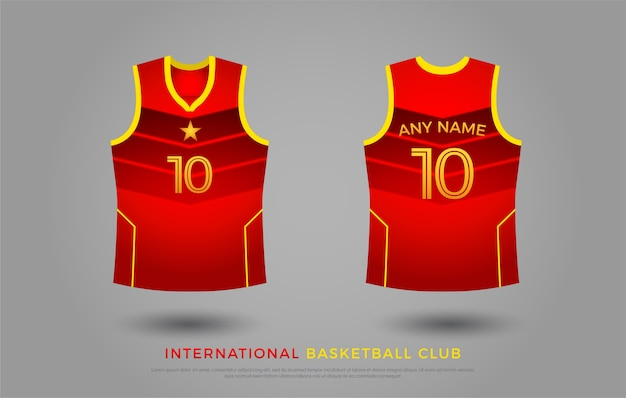 バスケットボールのtシャツのユニフォームセットのデザイン。バスケットボールジャージーテンプレート。赤と黄色 Premiumベクター