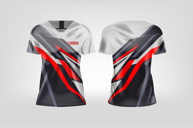 女性用のtシャツスポーツ、サッカークラブ用のサッカージャージ。 Premiumベクター