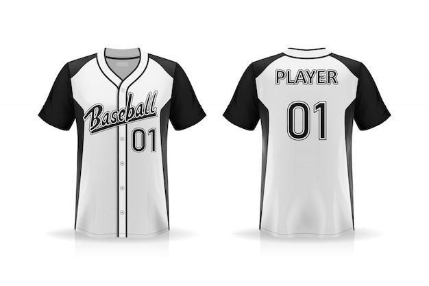 白い背景に分離された仕様野球tシャツモックアップ、デザインのためのシャツの空白スペース、要素またはテキストを配置するシャツ、印刷のために空白、ベクトルイラスト Premiumベクター