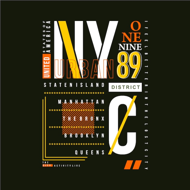 ニューヨークテキストフレームグラフィックタイポグラフィベクトルtシャツデザイン Premiumベクター