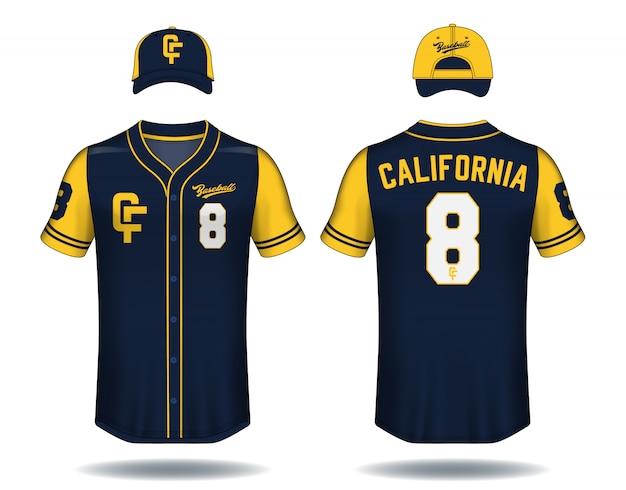 野球のtシャツをモックアップ。 Premiumベクター