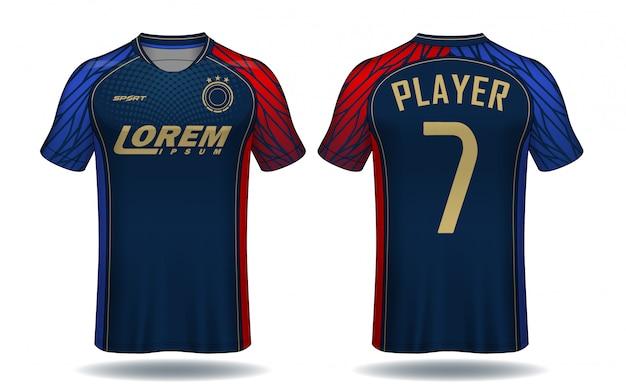 サッカージャージーテンプレート。スポーツtシャツデザイン。 Premiumベクター
