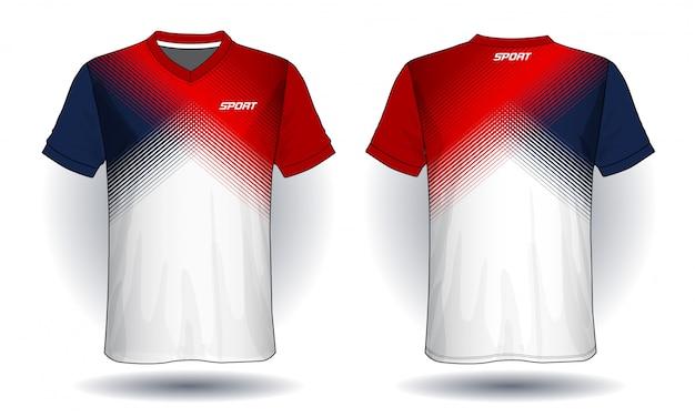サッカージャージースポーツtシャツのデザイン。 Premiumベクター