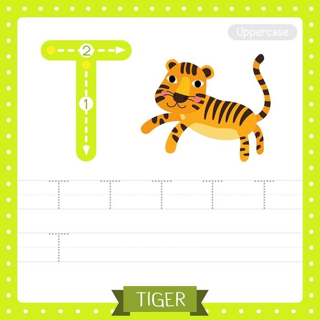 Буква t в верхнем регистре. прыгающий тигр Premium векторы