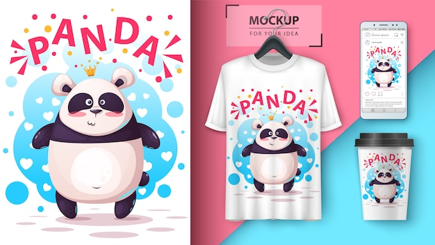 Tシャツ、カップ、スマートフォンのかわいいパンダイラスト壁紙 Premiumベクター