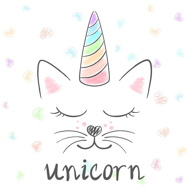 かわいいユニコーン猫のヤングイラスト面白いプリンセスとプリントt