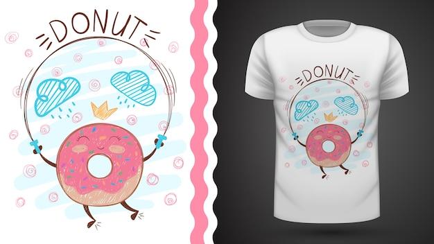 プリントtシャツのためのジャンプドーナツのアイデア。 Premiumベクター