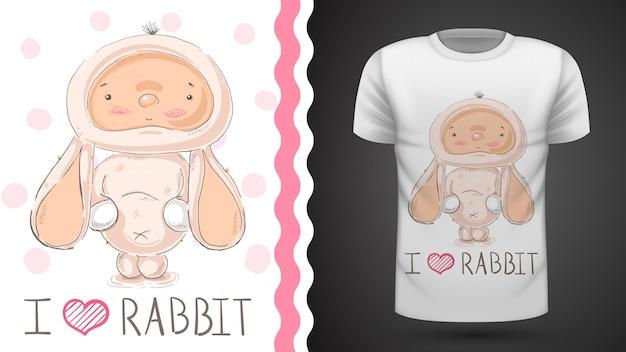 かわいい赤ちゃんウサギ - プリントtシャツのアイデア Premiumベクター