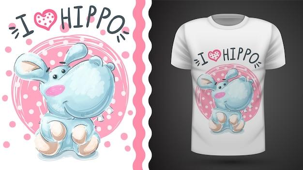 かわいいカバ、カバ - プリントtシャツのためのアイデア Premiumベクター