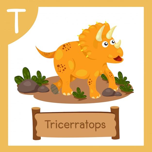 恐竜トリケラトプスのtのイラストレーター Premiumベクター