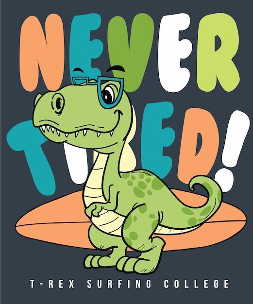 Tシャツ印刷のための手描きのクールな恐竜のベクトルデザイン Premiumベクター