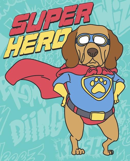 Tシャツ印刷のための手描きのかわいい犬のベクトルデザイン Premiumベクター