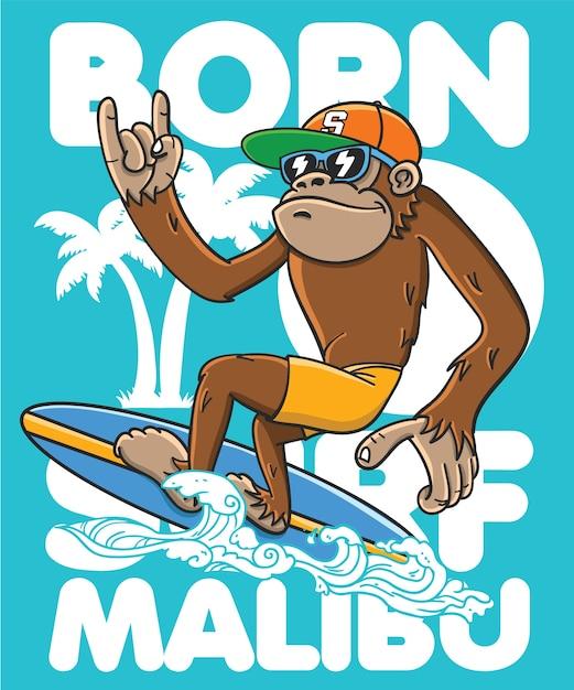 Tシャツの印刷のための手描きのクールな猿のベクトルデザイン Premiumベクター