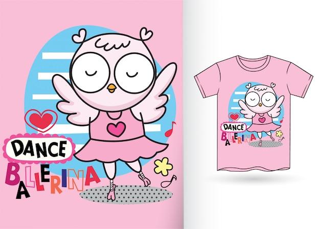 かわいいフクロウ漫画手描きのtシャツ Premiumベクター