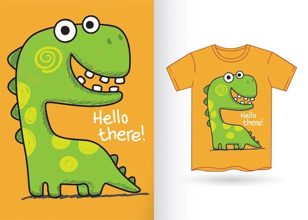 Tシャツのかわいい手描き恐竜 Premiumベクター